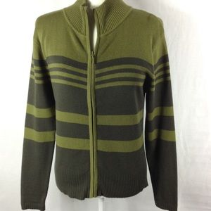Cross Roads Sweater S Zipper Ribbed Neck Stripped